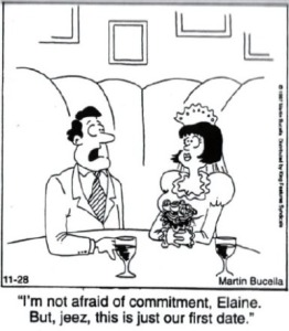 Cartoon afraid of commitment