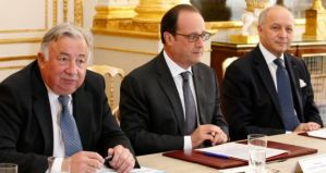French President Francois Hollande at meeting to discuss Wikileaks revelations
