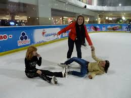 ice rink women falling down