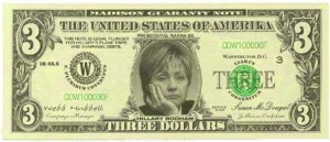 hillary clinton 3 dollar bill