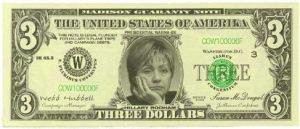 hillary clinton 3 dollar bill